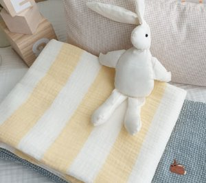 STRIPE GAUZE BLANKET(YELLOW)