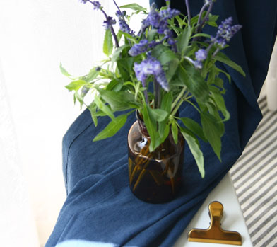 BLUE LINEN+COTTON CURTAIN